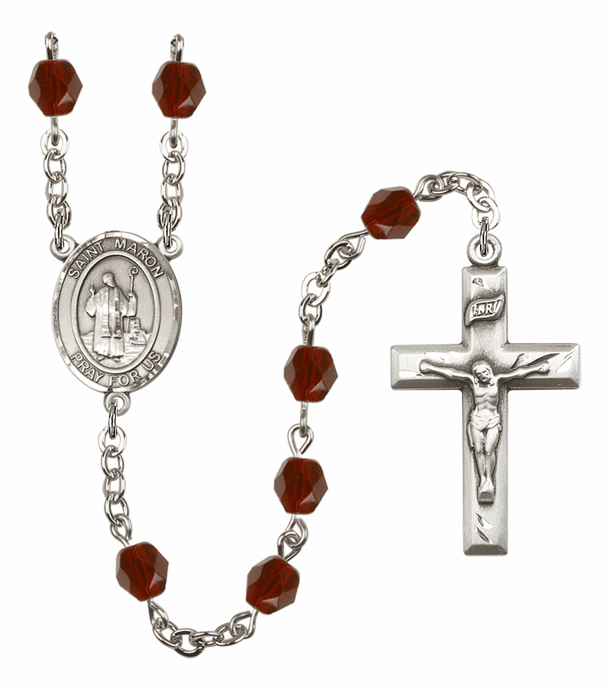 St Maron Silver Plate Birthstone Crystal Prayer Rosary by Bliss