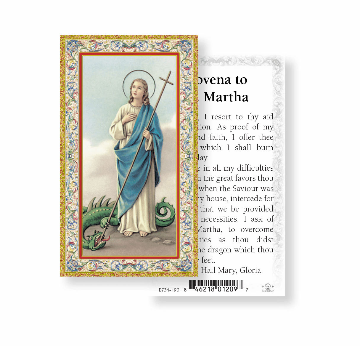 St Martha Patron Saint Holy Cards 100pcs by Fratelli Bonella
