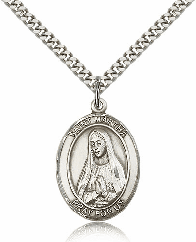 St Martha Sterling Silver Patron Saint Medal Necklace by Bliss Mfg.