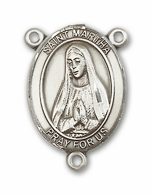 St Martha Sterling Silver Saint Rosary Center by Bliss