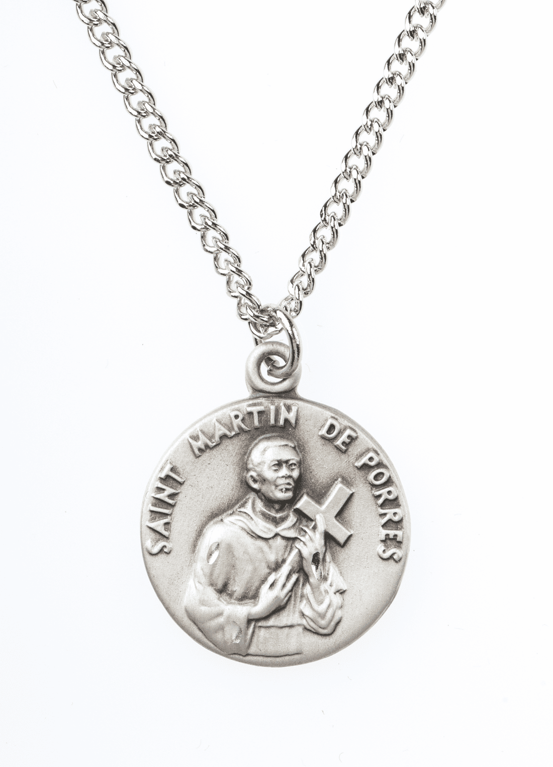 "St Martin de Porres Saint Medal Pendant w/18"" Chain by Jeweled Cross"