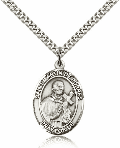 St Martin de Porres Silver-filled Patron Saint Necklace with Chain by Bliss