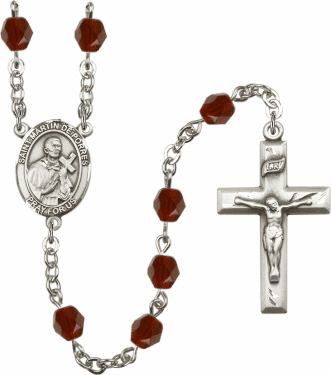 St Martin de Porres Silver Plate Birthstone Crystal Prayer Rosary by Bliss