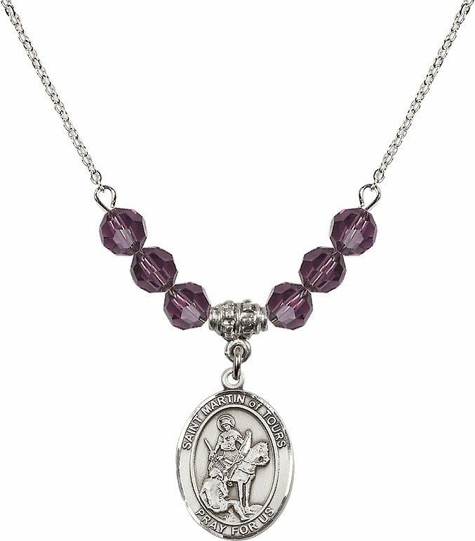 St Martin of Tours Sterling February Amethyst Swarovski Crystal Beaded Necklace by Bliss Mfg