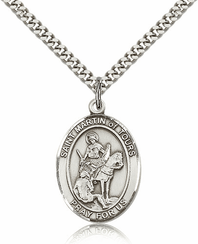 St Martin of Tours Sterling Silver Patron Saint Medal by Bliss