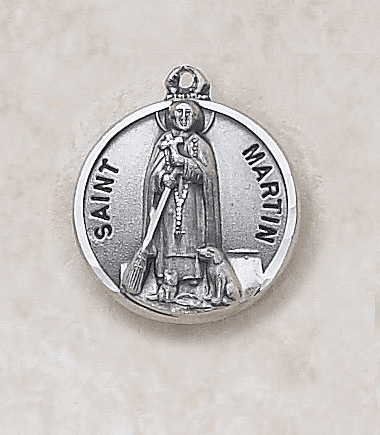 St Martin Sterling Sterling Patron Saint Medal w/Chain by Creed Jewelry