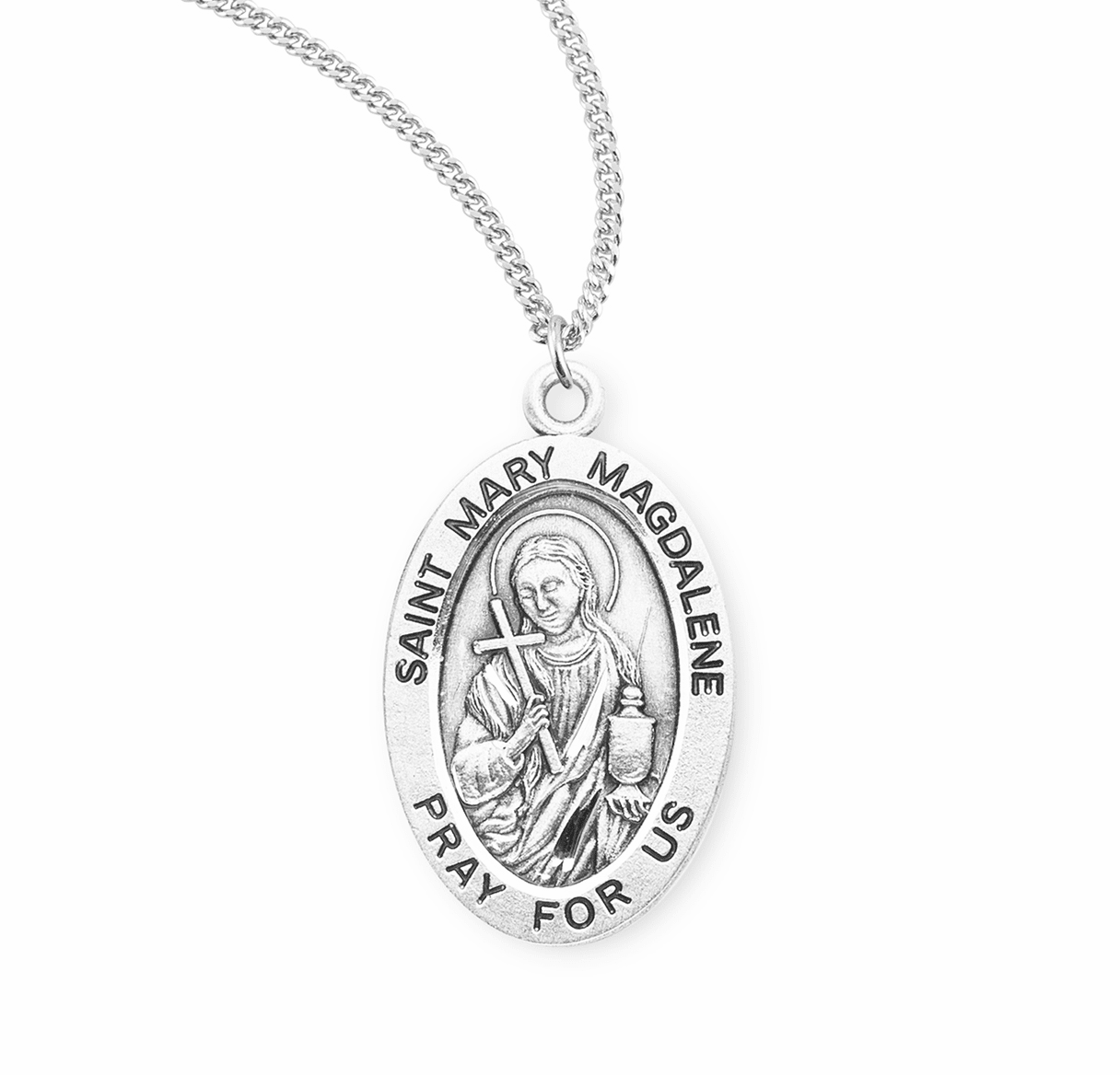 HMH Religious St Mary Madalene Catholic Saint Sterling Silver Medal Necklace