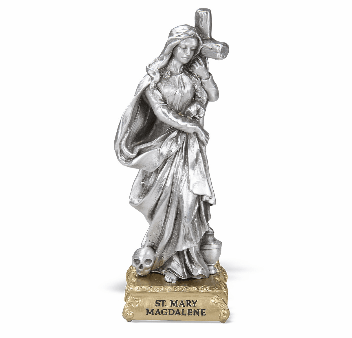 St Mary Magdalene Pewter Statue on Gold Tone Base by Hirten