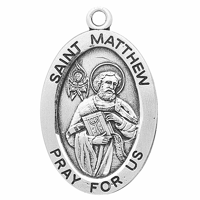 St Matthew Large Oval Sterling Silver Saint Medals by HMH Religious