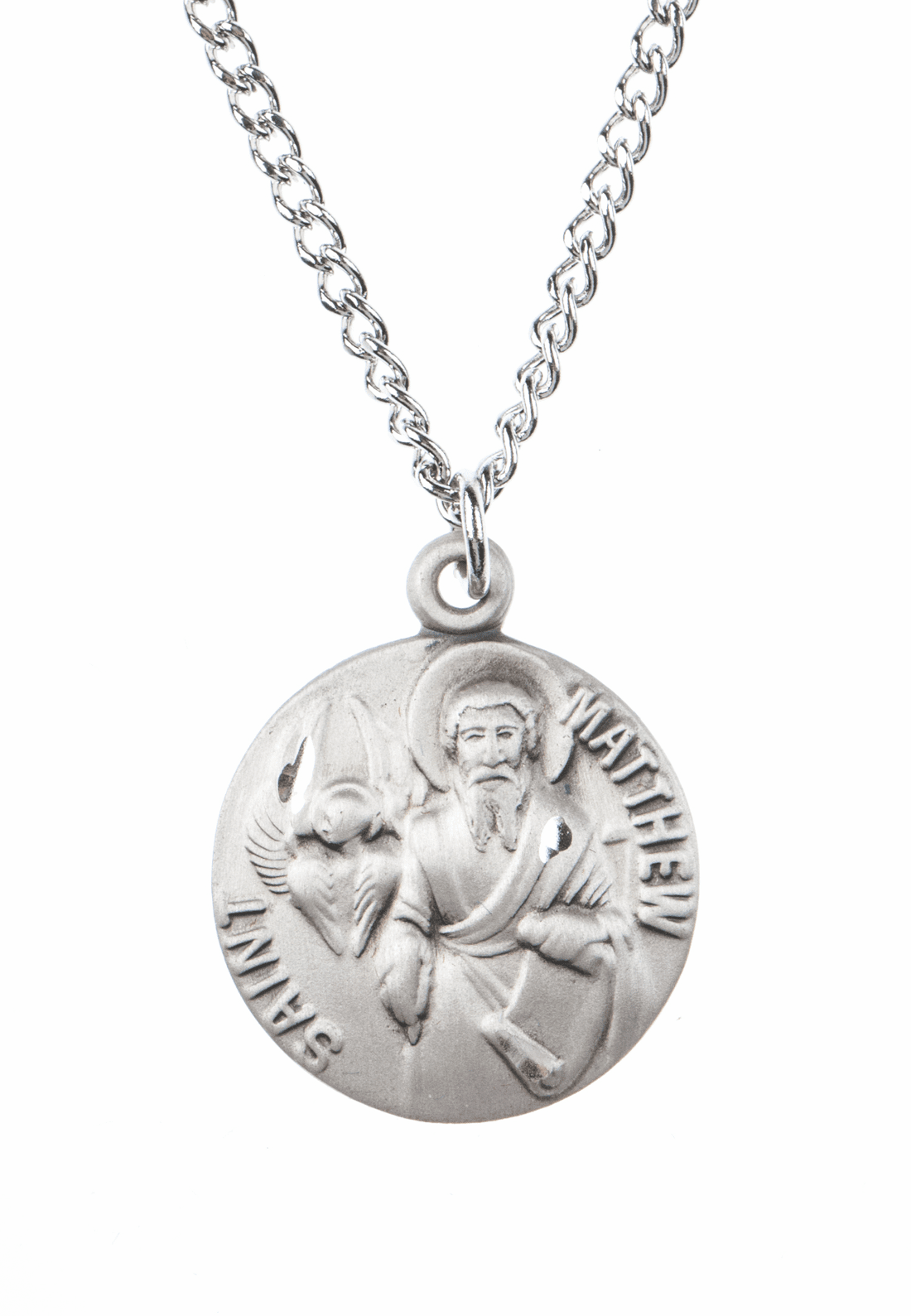 "St Matthew Saint Medal Pendant w/18"" Chain by Jeweled Cross"