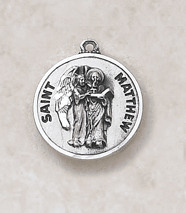 St Matthew Sterling Sterling Patron Saint Medal w/Chain by Creed Jewelry