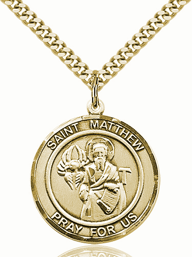 St Matthew the Apostle 14kt Gold-filled Round Patron Saint Medal Necklace by Bliss
