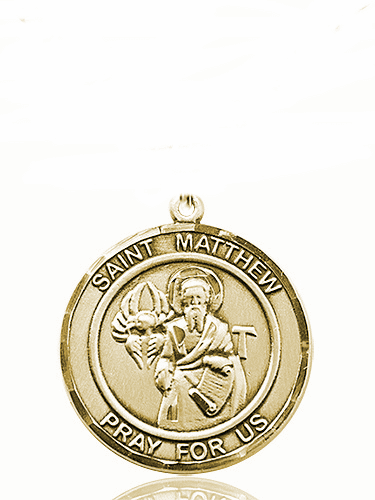 St Matthew the Apostle 14kt Gold Round Patron Saint Medal Necklace by Bliss