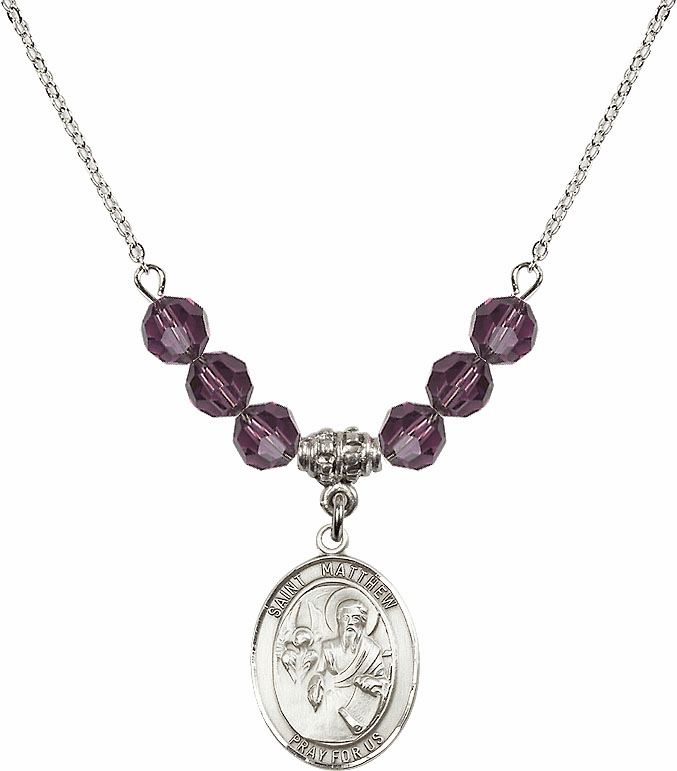 St Matthew the Apostle Amethyst Swarovski Necklace by Bliss Mfg