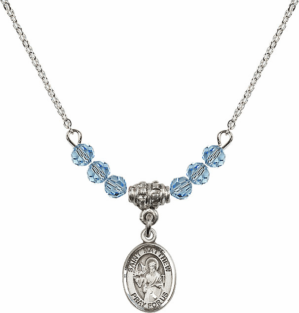 St Matthew the Apostle Aqua Swarovski Beaded Necklace by Bliss Mfg