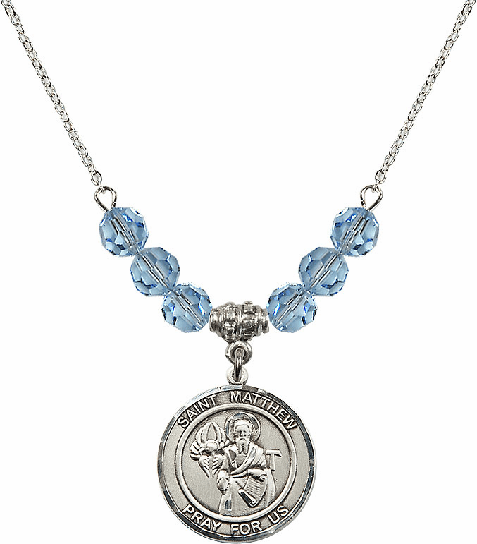 St Matthew the Apostle Aqua Swarovski Necklace by Bliss Mfg
