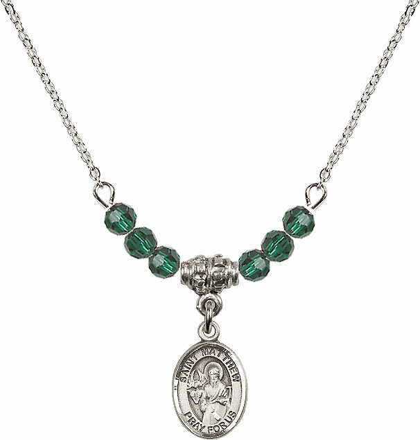 St Matthew the Apostle Emerald Swarovski Beaded Necklace by Bliss Mfg
