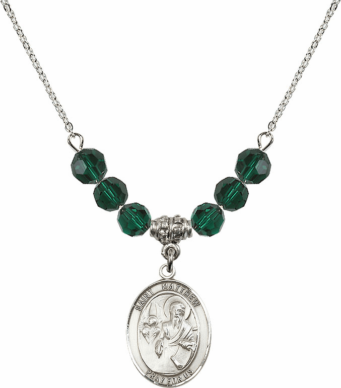 St Matthew the Apostle Emerald Swarovski Necklace by Bliss Mfg