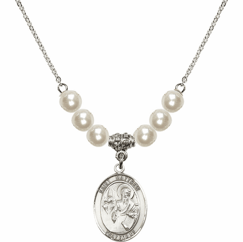 St Matthew the Apostle Faux Pearl Necklace by Bliss Mfg