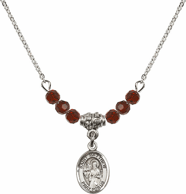 St Matthew the Apostle Garnet Swarovski Beaded Necklace by Bliss Mfg