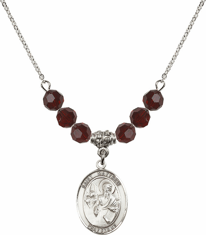 St Matthew the Apostle Garnet Swarovski Necklace by Bliss Mfg
