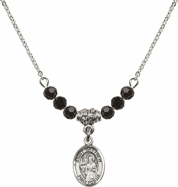 St Matthew the Apostle Jet Black Swarovski Beaded Necklace by Bliss Mfg