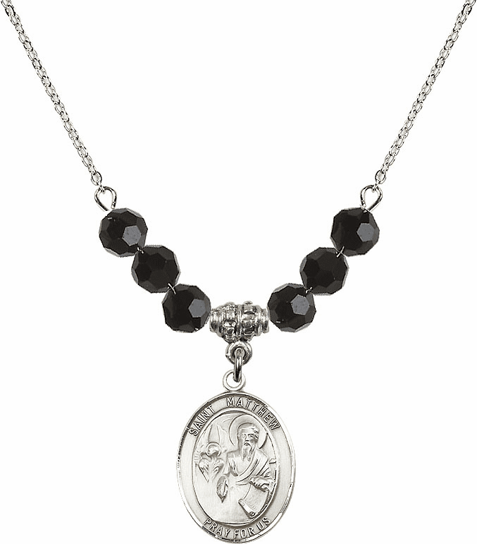 St Matthew the Apostle Jet Black Swarovski Necklace by Bliss Mfg