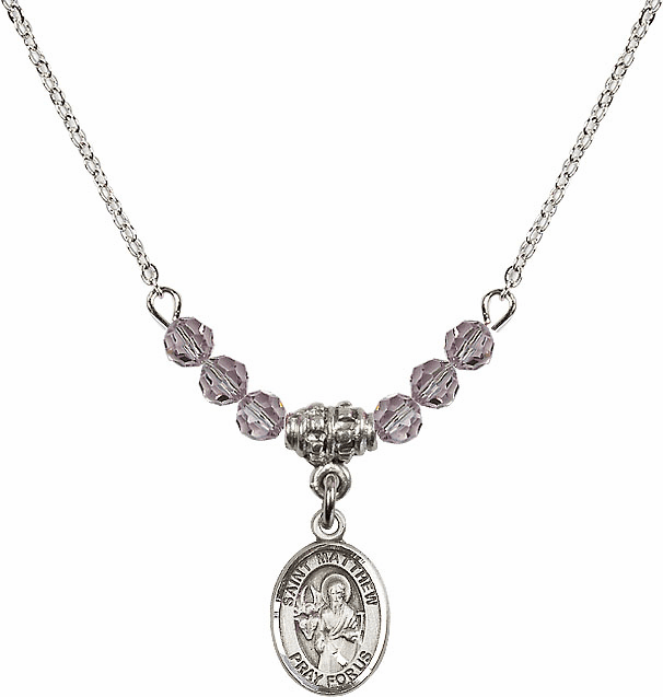 St Matthew the Apostle Lt Amethyst Swarovski Beaded Necklace by Bliss Mfg