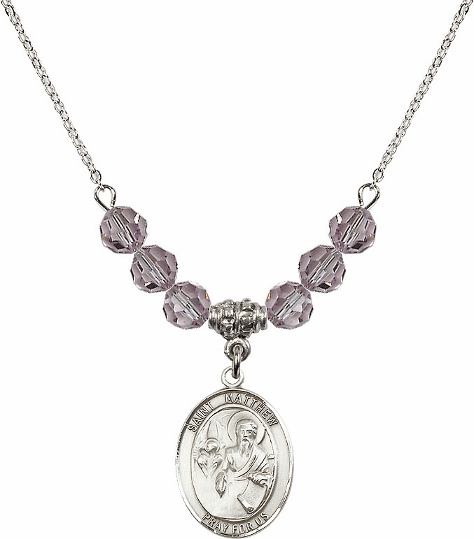 St Matthew the Apostle Lt Amethyst Swarovski Necklace by Bliss Mfg