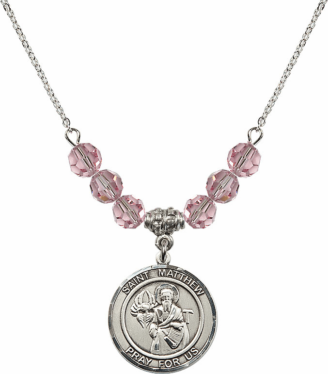 St Matthew the Apostle Lt Rose Swarovski Necklace by Bliss Mfg