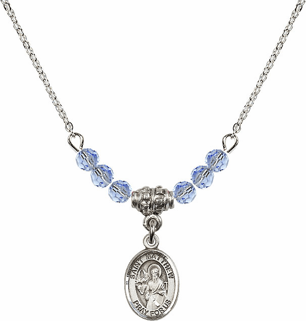 St Matthew the Apostle Lt Sapphire Swarovski Beaded Necklace by Bliss Mfg