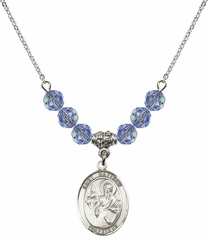 St Matthew the Apostle Lt Sapphire Swarovski Necklace by Bliss Mfg