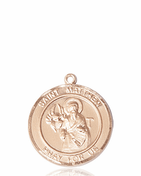 St Matthew the Apostle Medium Patron Saint 14kt Gold Medal by Bliss