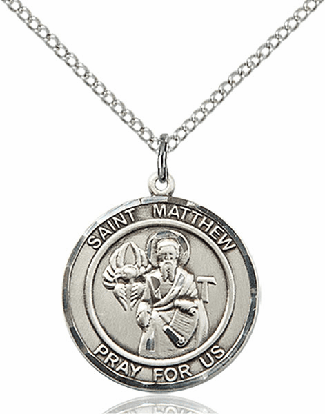 St Matthew the Apostle Medium Patron Saint Pewter Medal by Bliss