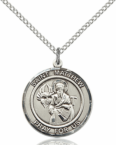St Matthew the Apostle Medium Patron Saint Sterling Silver Medal by Bliss