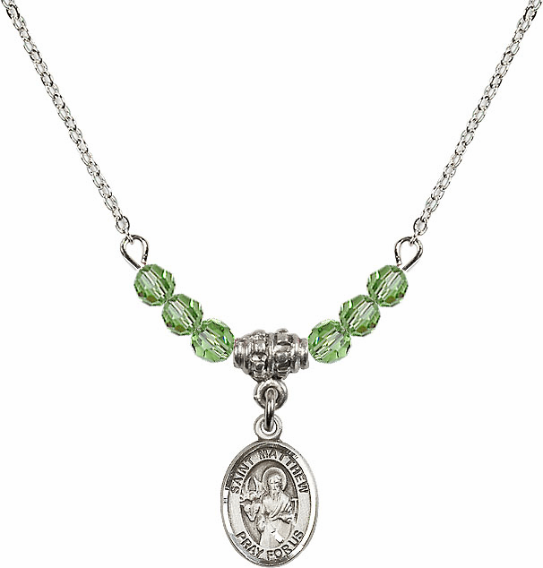 St Matthew the Apostle Peridot Swarovski Beaded Necklace by Bliss Mfg