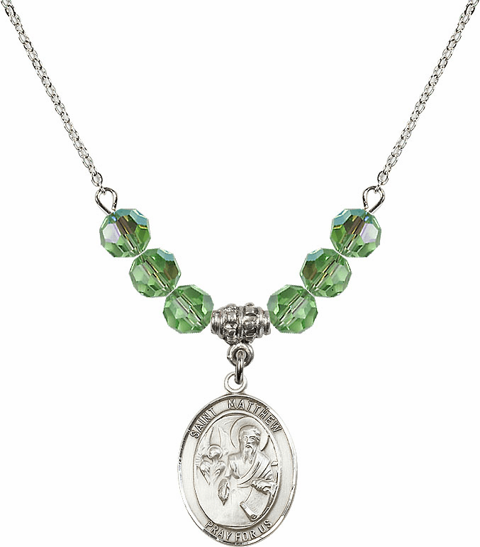 St Matthew the Apostle Peridot Swarovski Necklace by Bliss Mfg