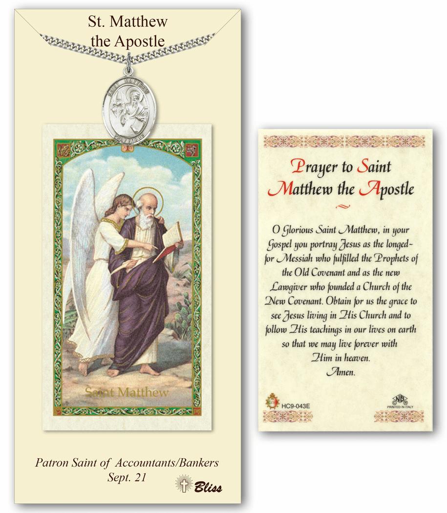 St Matthew the Apostle Prayer Card & Pendant Gift Set