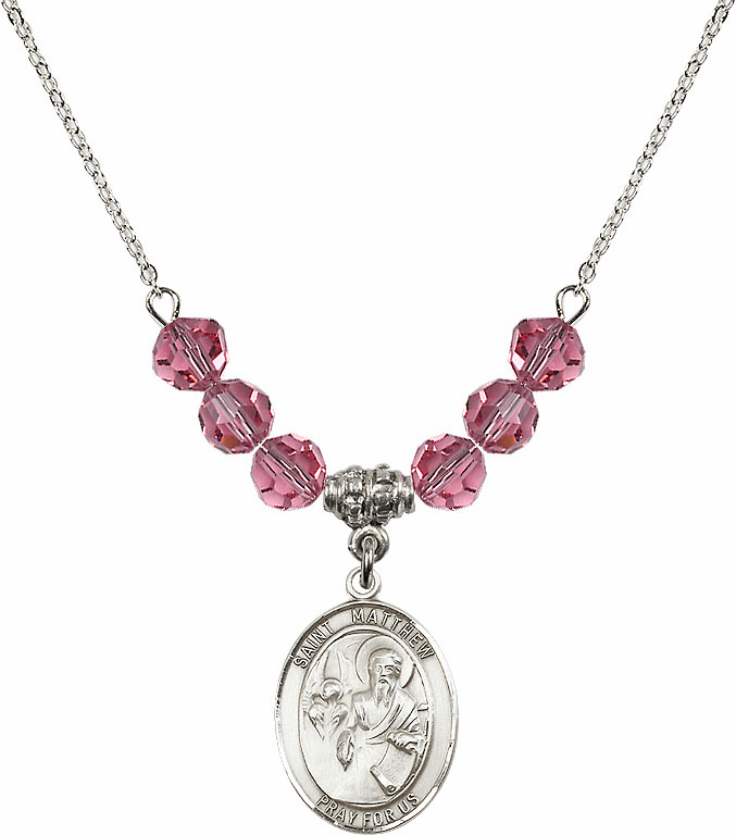 St Matthew the Apostle Rose Swarovski Necklace by Bliss Mfg