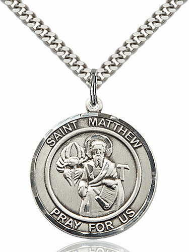 St Matthew the Apostle Round Patron Saint Medal Necklace by Bliss