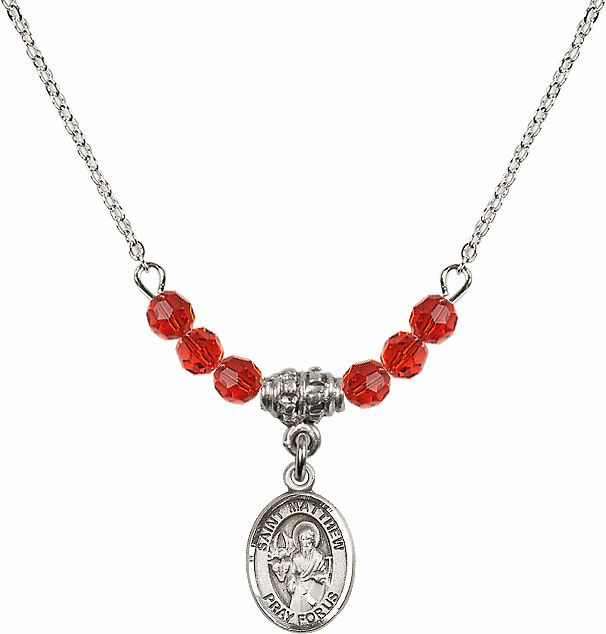 St Matthew the Apostle Ruby Swarovski Beaded Necklace by Bliss Mfg