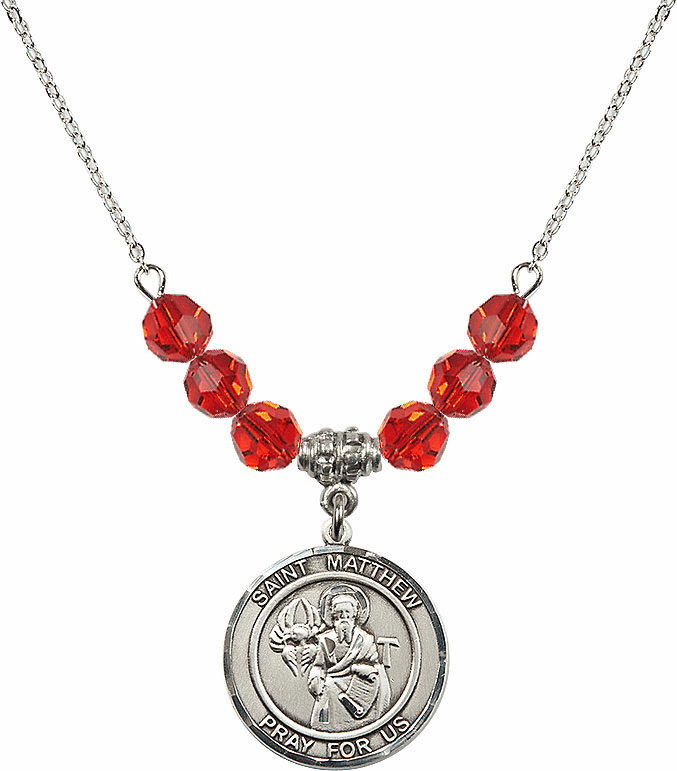 St Matthew the Apostle Ruby Swarovski Necklace by Bliss Mfg