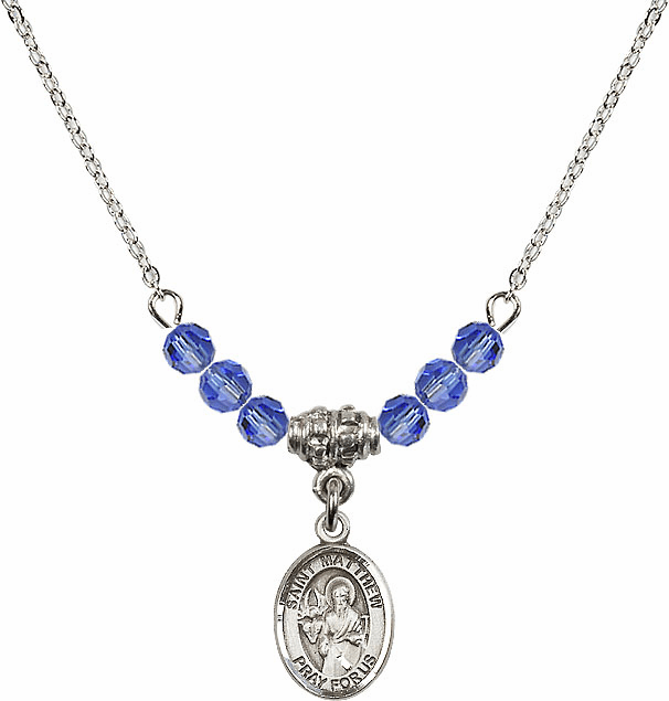 St Matthew the Apostle Sapphire Swarovski Beaded Necklace by Bliss Mfg