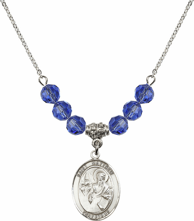 St Matthew the Apostle Sapphire Swarovski Necklace by Bliss Mfg