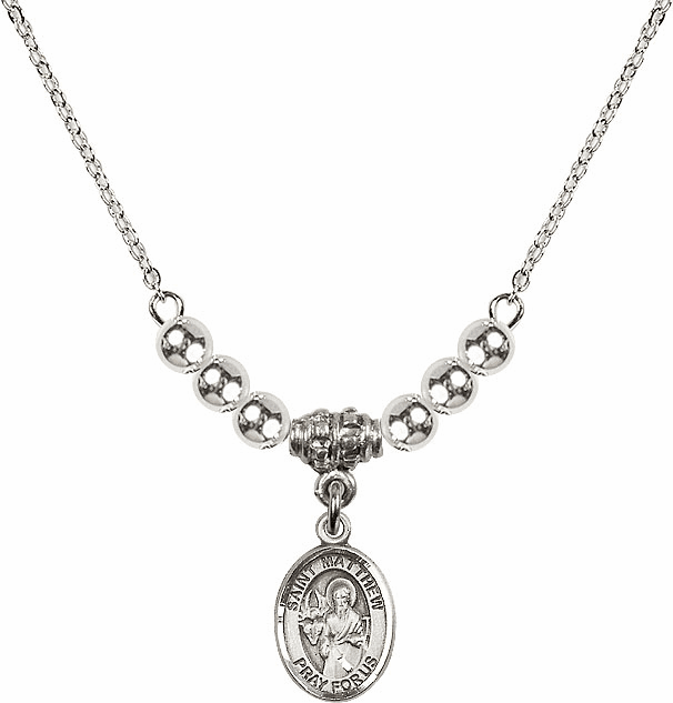 St Matthew the Apostle Silver Beaded Necklace by Bliss Mfg