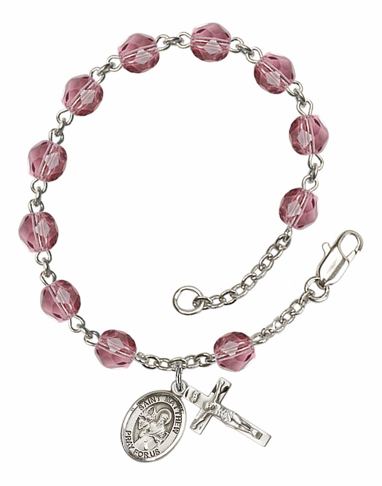 St Matthew the Apostle Silver Plate Amethyst Birthstone Rosary Bracelet by Bliss