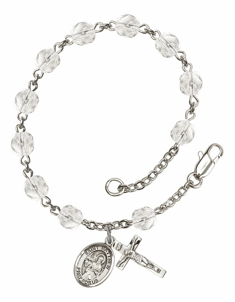 St Matthew the Apostle Silver Plate April Birthstone Rosary Bracelet by Bliss