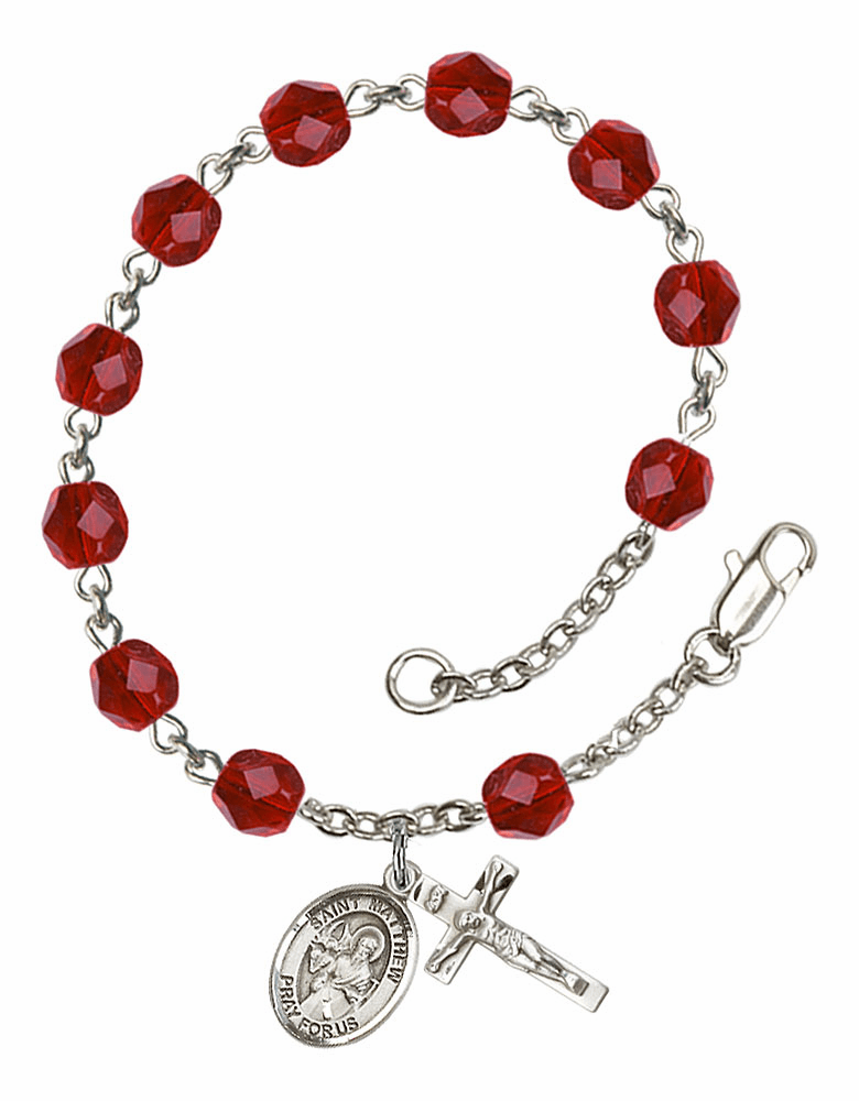 St Matthew the Apostle Silver Plate July Birthstone Rosary Bracelet by Bliss