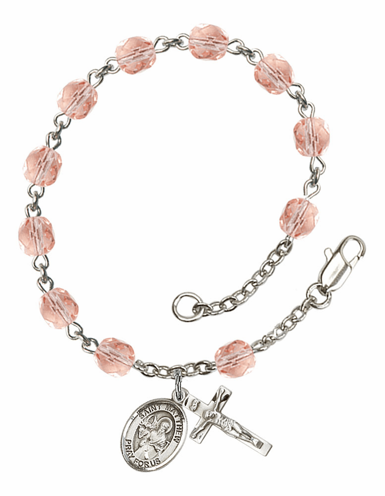 St Matthew the Apostle Silver Plate Rose Birthstone Rosary Bracelet by Bliss