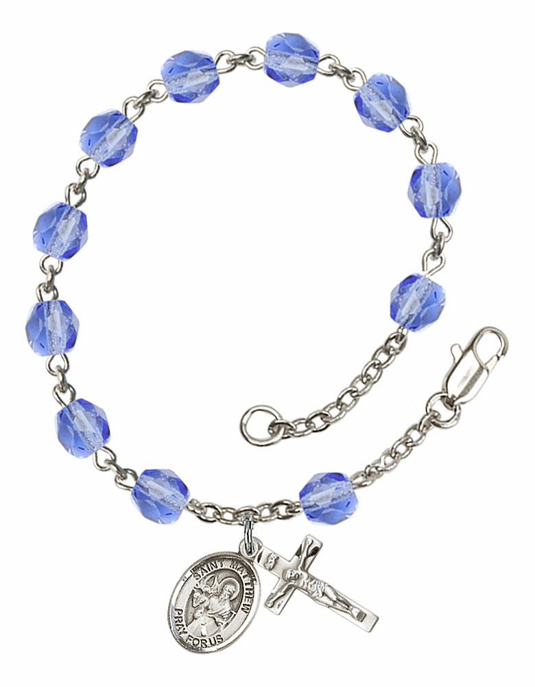 St Matthew the Apostle Silver Plate Sapphire Birthstone Rosary Bracelet by Bliss